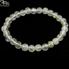 Natural 7mm Round Yellow Rutilated Quartz Gemstone Jewelry Stretch Bracelet