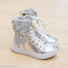Girls Trainers Black White Silver Angel Wings Boots Faux Leather Size 8.5 - 3