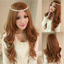 New Fashion Women Ladys Long Wavy Curly Brown Hair Full Wig Cosplay Party Wigs