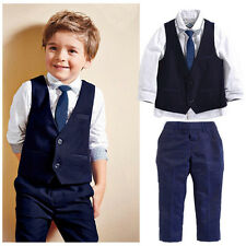 2015 New Baby Kids Boys Suit Tops Shirt Waistcoat Tie Pants 4PCS Outfits Clothes
