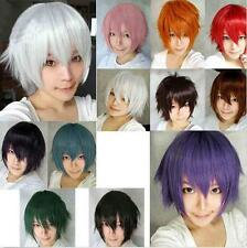 12 Colors Women Fancy Short Wig Cosplay Party Costume Straight Wigs Full Wig+Cap