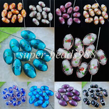 Freeshipping Dichroic Glass Rice Beads 11x16MM Loose Beads 5PCS / 10PCS SBW036