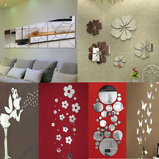 Mirror Decal Art Mural Wall Stickers Home Room DIY Decor Decoration Removable