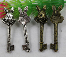 wholesale: 6/20pcs Retro style lovely rabbit key alloy charms Pendants 51x15mm