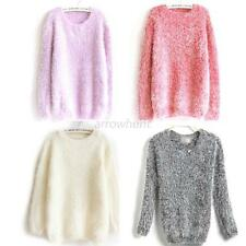 New Womens Sweater Long Sleeve Soft Warm Mohair Loose Knit Pullover Knitwear HOT