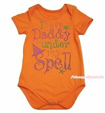 Halloween I have Daddy under my Spell Orange One Piece Baby Bodysuit NB-18Month