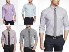 New Express Mens Modern Fit Pinstriped Button Down Dress Shirt XS-XL Colors