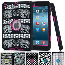 Heavy Duty Armor Rugged Pattern Soft Rubber Hard Matte Case Cover For Apple iPad