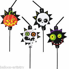 8 Halloween Monster Mummy Ghost Pumpkin Friendly Party Plastic Drinking Straws