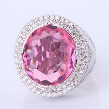 Statement pink Sapphire ring!18K White Gold filled standing vogue ring Sz6-Sz10