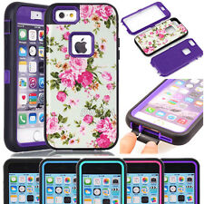 Glossy Peony Flower Pattern Shockproof Rugged Case For iPhone & Samsung Phones