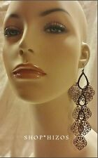 "NEW LONG CHANDELIER LAYERED FILIGREE PAVE CRYSTAL 6"" DANGLE DROP HOOK EARRINGS"