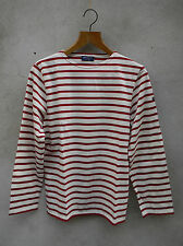 MINQUIERS STRIPED BRETON SHIRT Cream+Persian Red by SAINT JAMES