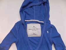 Abercrombie & Fitch~Blue Thermal Waffle 3/4 sleeve Hooded Top size Small