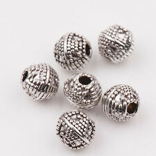 Wholesale 15/30Pcs Tibet Silver Charms Round Spacer Loose Beads Finding DIY 6mm