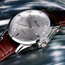 Men's Vintage Stainless Steel Calendar Dial Leather Business Quartz Wrist Watch
