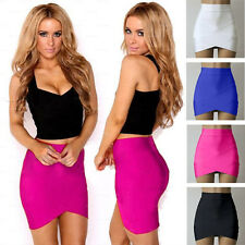 Womens Sexy Mini Skirt Fitted Wiggle Asymmetrical Hem Bandage Party Pencil Dress