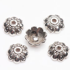 Lots 50/100Pcs Tibetan Silver Carved Flower Shaped Bead Caps Findings DIY 9*3mm