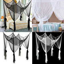 Four Corner Post Bed White/Black Canopy Mosquito Net Queen King Size Netting