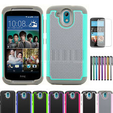 Rugged Hybrid Armor Hard Protective Case Impact Cover+Film For HTC Desire 526G