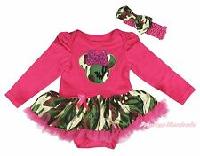 Hot Pink L/S Bodysuit Camouflage Minnie Girls Baby Dress Outfit Set NB-18Month