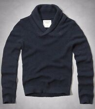 NWT Abercrombie & Fitch Men's Hunters Pass Navy Shawl Collar Sweater XL