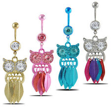 Sexy Owl Dangle Ball Barbell Bar Belly Button Navel Ring Body Piercing Jewelry