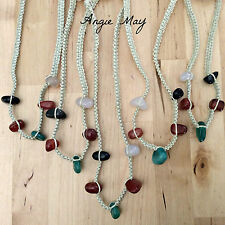 Wholesale Lot Handcrafted Macrame Agate Gemstone Weave Cotton Cord Necklaces