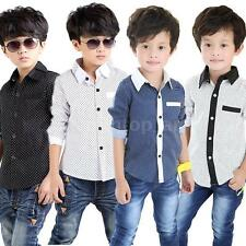 Baby Boy Kids Children's Wear Long Sleeve Polka Dot Lapel Shirt Tops Blouse 31II
