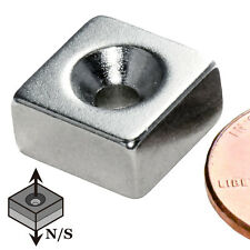 "CMS Magnetics® N42 Neodymium Magnet 1/2""x 1/2""x 1/4"" with #6 Countersunk Hole"