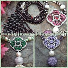 """25"""" Garnet Amethyst White PearlNecklaceRed CZ Pave Pendant"""