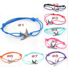 2015 Hippy Silver Peace Bird Friendship Karma Wish Hope happiness Bracelet Cord