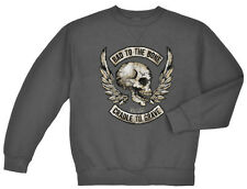 Bad to the bone cradle to the grave sweatshirt Men's dark gray biker skull wings