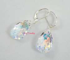 SWAROVSKI CRYSTAL CLEAR AB Teardrop Earrings 925 Sterling Silver Leverbacks
