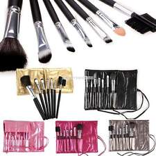 Professional 7PCS Makeup Cosmetic Brushes Set Kit Goat Hair + Leather Case