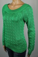Ralph Lauren Green Scoop Round Neck Cable Knit Sweater NWT