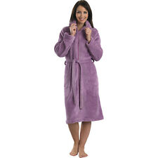 Ladies Slenderella Zipped Dressing Gown Soft Coral Fleece Shawl Collar Housecoat