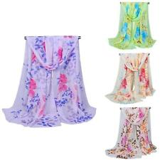 Women Fashion Scarves Long Style Wrap Lady Shawl Floral Chiffon Scarf Stole Q08U