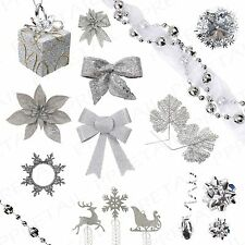 Assorted Festive Silver Theme+CHRISTMAS DECORATIONS+ Xmas Tree/Party/Home/Office