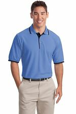 Port Authority K501 Mens Silk Touch Polo with Stripe Trim Golf Shirt NEW