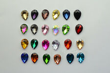 100 PCS 4mm x 6mm Glass Color Tear Drop Faceted Glass Jewels