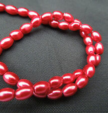 """16"""" strand Red Glass Oval Rice Pearls Jewellery Making Beads 8mm x 6mm"""