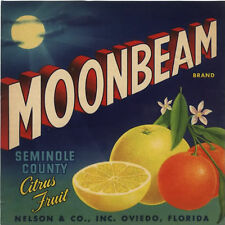 CRATE LABEL FLORIDA VINTAGE  OVIEDO MOONBEAM 7X7 ORIGINAL ADVERTISING