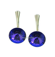 Purple Blue Round Swarovski Crystal Rivoli Earrings 925 Sterling Silver