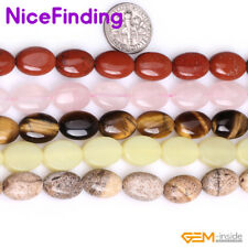 "10x14mm Natural Oval Gemstone Beads For Jewelry Making Strand 15"" Assorted Stone"