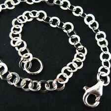 Sterling Silver Necklace Chain -3.5mm Flat Circle Link (All Sizes) Made in Italy