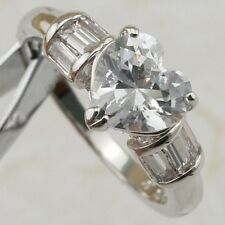 Size 5 6 7 8 9 Sweet White Heart CZ Gems Jewelry Gold Filled Woman Ring R2217