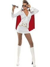 Adult Women's White Elvis Presley Viva Las Vegas Fancy Dress Costume