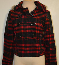 Women's Rue 21 Red Plaid Toggle Coat With Removable Faux Fur Hood Size Small