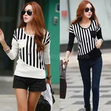 New Womens Striped Pocket Long Sleeve Casual Blouse Tops Tees Shirt T-Shirt 7RQ8